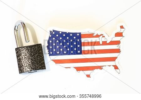 Usa United States Of America National Flag With Outline On White Background With Open Lock Top View.