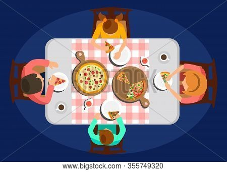 Family Dinner Top View Color Vector Illustration. Parents With Children Sitting At Table, Eating Mea