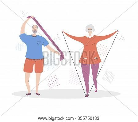 Flat Vector Illustration Senior Fitness. Smiling Grandfather And Grandmother Exercising Together. Ac