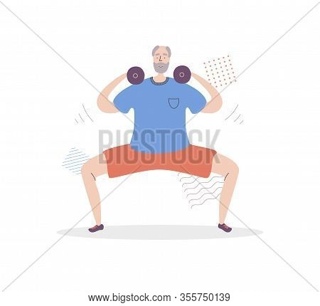 Flat Vector Illustration Senior Fitness. Smiling Grandfather Lifting Weights And Doing Sumo Squat. A