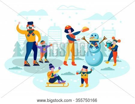 Family Winter Outdoor Activity Flat Vector Concept. Parents Having Fun With Kids In Park, Father And