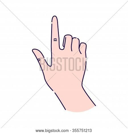 Hand Gesture Touch Line Color Icon. Make The Index Finger Up Gesture Sketch Element. Pictogram For W