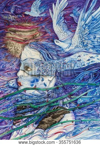 Mystical Woman With A Blindfold, Trying To Foresee The Future, With Blue Birds, While Entangled With