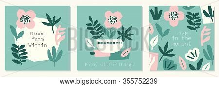 Every Day Motivation As Creative Trendy Abstract Paper Cut Out Collage Set Backgrounds For Social Me