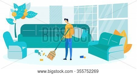 Guy Sweeping Living Room Flat Vector Illustration. Young Man Holding Broom Cartoon Character. After