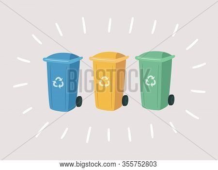Garbage Colorful Cans For Separate Waste. Containers For Recycling Waste Sorting. Vector Hand Drawn