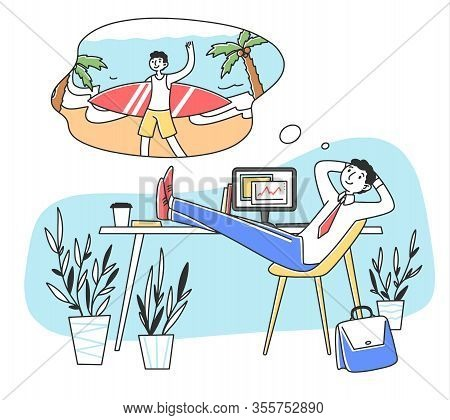 Smiling Man At Work Dreaming About Vacation Flat Vector Illustration. Business Person Relaxing At Jo