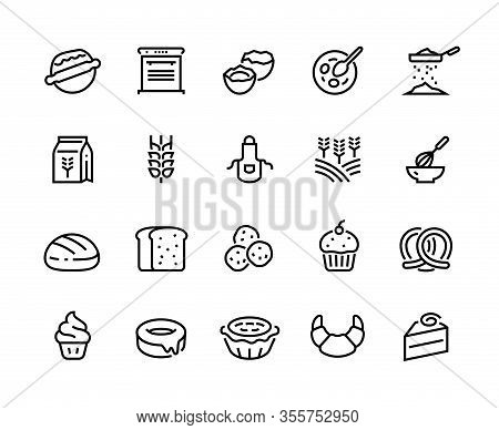 Bakery Line Icons. Wheat Flour Eggs And Sugar Ingredient For Home Bread Croissant Muffin Cake And Do