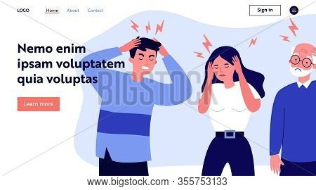 Stressed People Suffering From Headache, Holding Head. Sad Men And Woman Tired Of Their Migraine. Ve