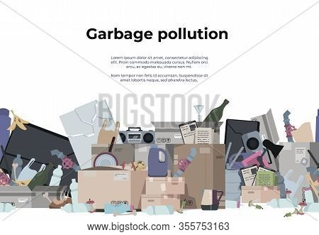 Garbage Background. Seamless Pattern With Plastic Paper Organic Metal And Toxic Waste, Trash Texture