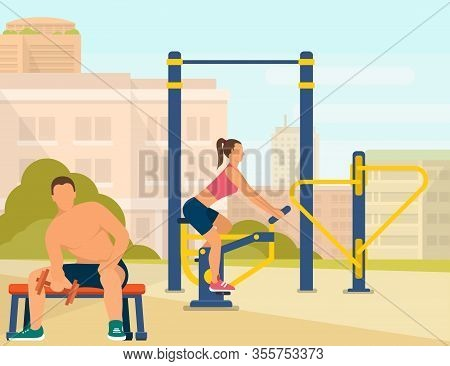 Informative Poster, Couple Spend Time For Sports. In Big City, Couple Young People Play Sports On Sp