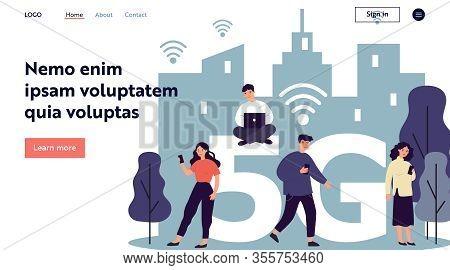 Young Citizens Using Digital Gadgets. Laptops An Cellphones Users Using 5g High Speed Wireless Inter