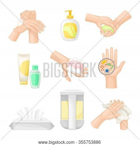 Hand Washing And Cleansing Using Soap And Antibacterial Wet Wipes Vector Illustrations Set