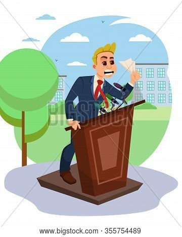 Man Character Emotionally Speaking From Rostrum. Young Angry Businessman Or Male Politician At Tribu
