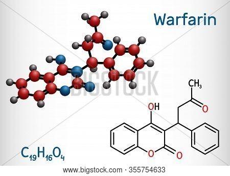 Warfarin, C19h16o4 Molecule. Warfarin Is An Anticoagulant Drug Normally Used To Prevent Blood Clot F