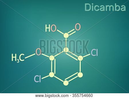 Dicamba C8h6cl2o3 Molecule. It Is Used As A Herbicide. Skeletal Chemical Formula.