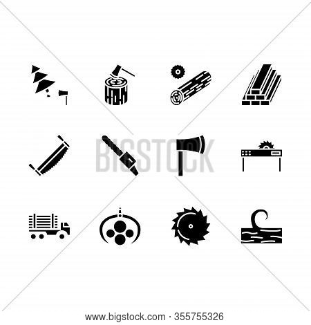 Logging Line Icon Set Isolated Over White, Forestry Equipment, Logging Truck, Timber, Wood, Lumber,