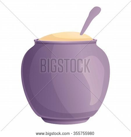 Kitchen Sugar Pot Icon. Cartoon Of Kitchen Sugar Pot Vector Icon For Web Design Isolated On White Ba