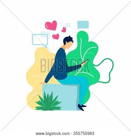 Man With Phone In Hand Sitting In Park. Man With Phone Write Love Massage. Park Area. Business Commu
