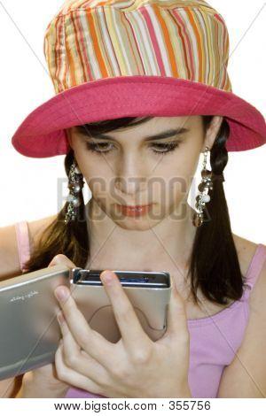 Teenage Girl Using Hand Held Computer