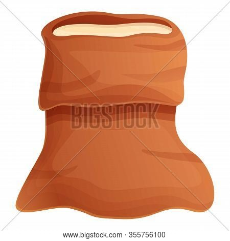 Open Sugar Sack Icon. Cartoon Of Open Sugar Sack Vector Icon For Web Design Isolated On White Backgr