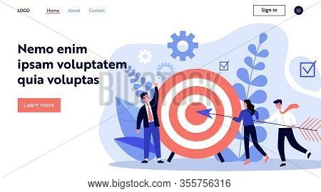 Businesspeople Driving Arrow To Goal. Successful Professional Team Hitting Target. Vector Illustrati