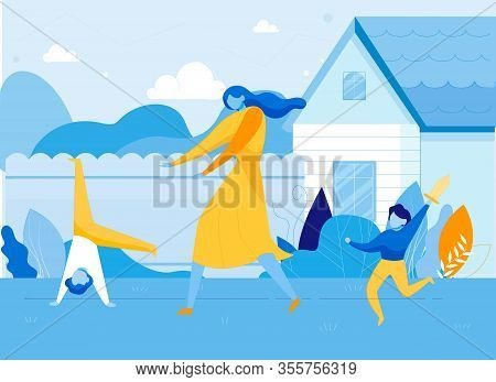 Mother With Hyperactive Children On House Backyard Flat Cartoon Vector Illustration. Parent Trying T