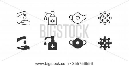 Hygiene Vector Icon Set. Virus Care Black Shape Line Silhouette Icons Collection. Washing Hands, Ant