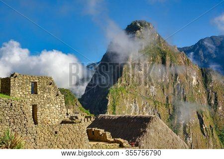 Close View Of The Lost Incan City Of Machu Picchu Near Cusco, Peru. Machu Picchu Is A Peruvian Histo