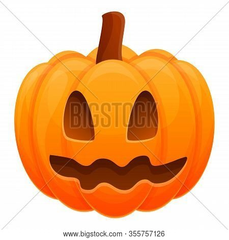 Scary Cute Pumpkin Icon. Cartoon Of Scary Cute Pumpkin Vector Icon For Web Design Isolated On White