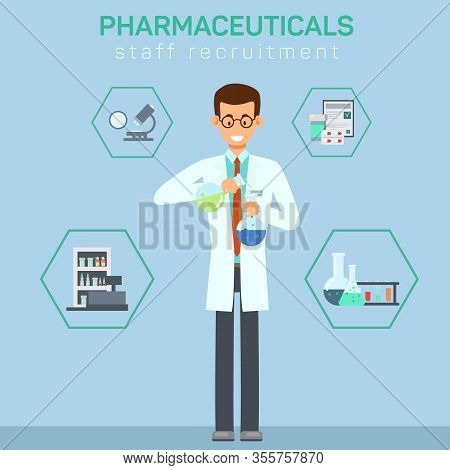 Pharmacy Workers Recruiting Flat Banner Template. Chemist, Lab Assistant Mixing Liquids In Flasks. H