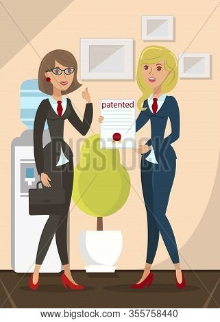 Patented Product Certificate Flat Illustration. Invention, Creative Idea Protection. Intellectual Pr