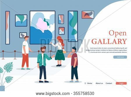 Cartoon People In Open Contemporary Art Gallery Banner Vector Illustration. Woman Look Abstract Pain
