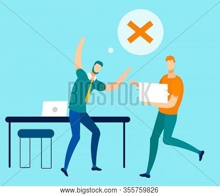 Two Office Workers. Misunderstanding, Disagree And Forbiddingness. Stressed Executive Manager With R