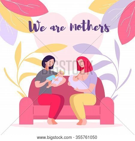 Young Women Sitting On Sofa Feeding Baby With Milk In Child Bottle And With Breast, Mothers Day. Suc