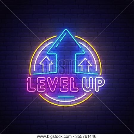 Level Up Neon Sign, Bright Signboard, Light Banner. Game Popup. Game Logo Neon, Emblem. Vector Illus
