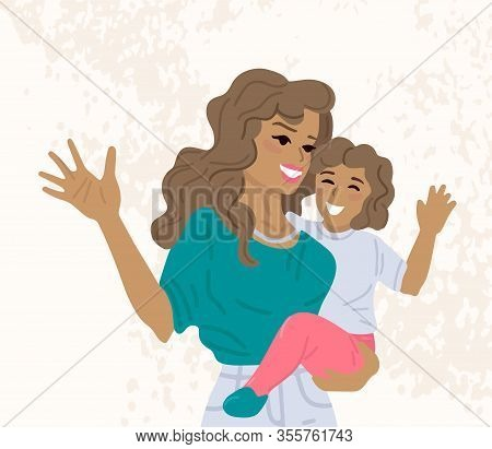 Latin Mother Is Holding Her Child In Arms. Vector Cartoon Illustration