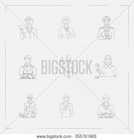 Set Of Profession Icons Line Style Symbols With Karate, Investigator, Veterinarian And Other Icons F