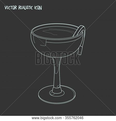 Sidecar Cocktail Icon Line Element. Vector Illustration Of Sidecar Cocktail Icon Line Isolated On Cl