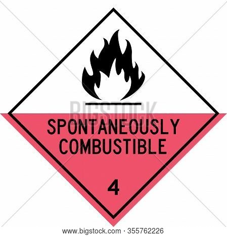 Spontaneous Combustibles Sign. Dangerous Goods Placards Class 4. Perfect For Transport Vehicles, Bac