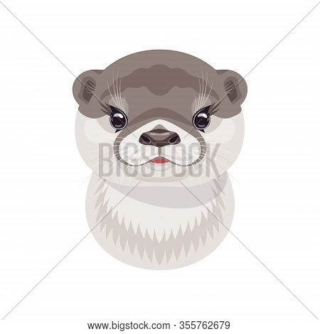 Funny River Otter Head Isolated On White Background. Cartoon Cute Animal Muzzle Vector Flat Illustra