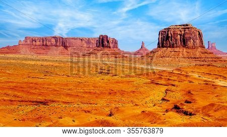 Merrick Butte, Mitten Buttes And Sentinel Mesa, A Few Of The Massive Red Sandstone Buttes And Mesas
