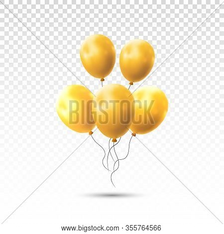 Balloons Isolated On Transparent Background. Vector Realistic Helium Golden Rose, Glossy Gold Birthd