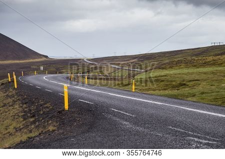 Image Of Empty Road In Beautiful Iceland.
