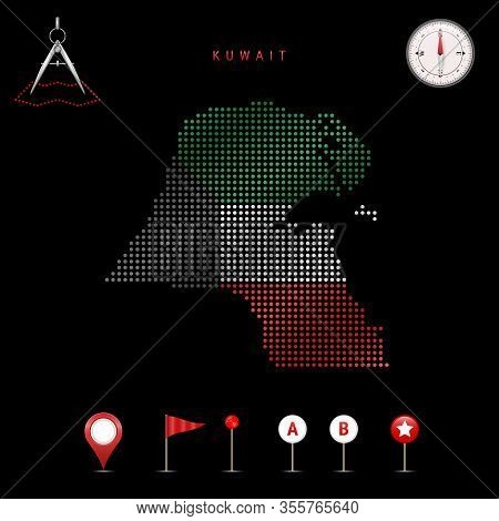 Dotted Map Of Kuwait Painted In The Colors Of The National Flag Of Kuwait. Waving Flag Effect. Map T