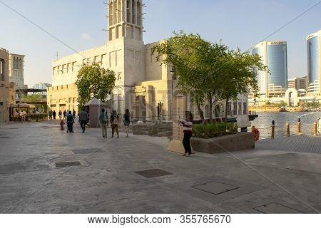 Dubai / Uae - February 21, 2020: Al Seef Village At Bur Dubai. Al Seef Distinct Heritage And Modern