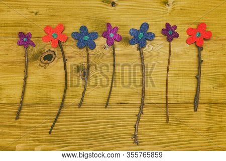 Image Of Flowers From Paper Wooden Table.