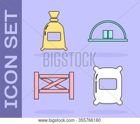 Set Bag Of Flour, Bag Of Flour, Garden Fence Wooden And Hangar Icon. Vector
