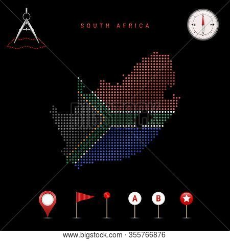 Dotted Map Of South Africa Painted In The Colors Of The National Flag Of South Africa. Waving Flag E