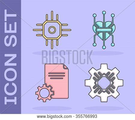 Set Processor, Processor, File Document And Processor Icon. Vector